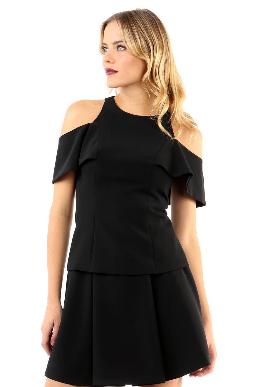 Jay Godfrey Black Cold-Shoulder Top - Front View