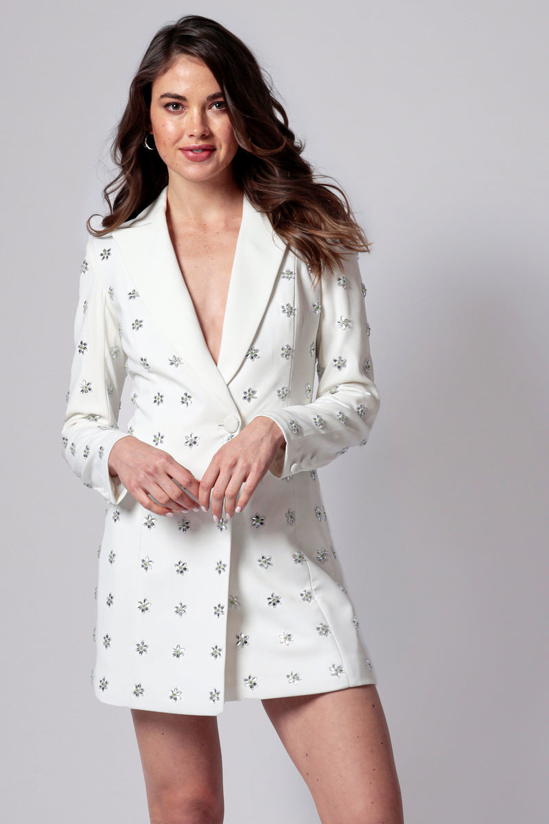 ACE EMBELLISHED TUXEDO MINI DRESS