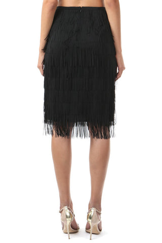 CHANA BLACK FRINGE SKIRT - FINAL SALE