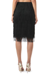 Jay Godfrey Black Fringe Skirt - Back View