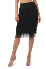 Jay Godfrey Black Fringe Skirt - Front View
