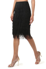 Jay Godfrey Black Fringe Skirt - Side View