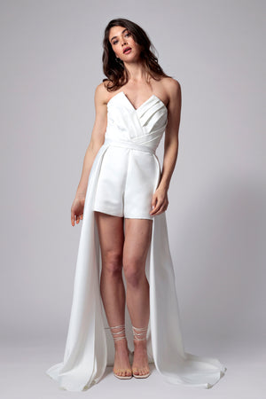 CAPRI STRAPLESS ROMPER WITH OVERSKIRT