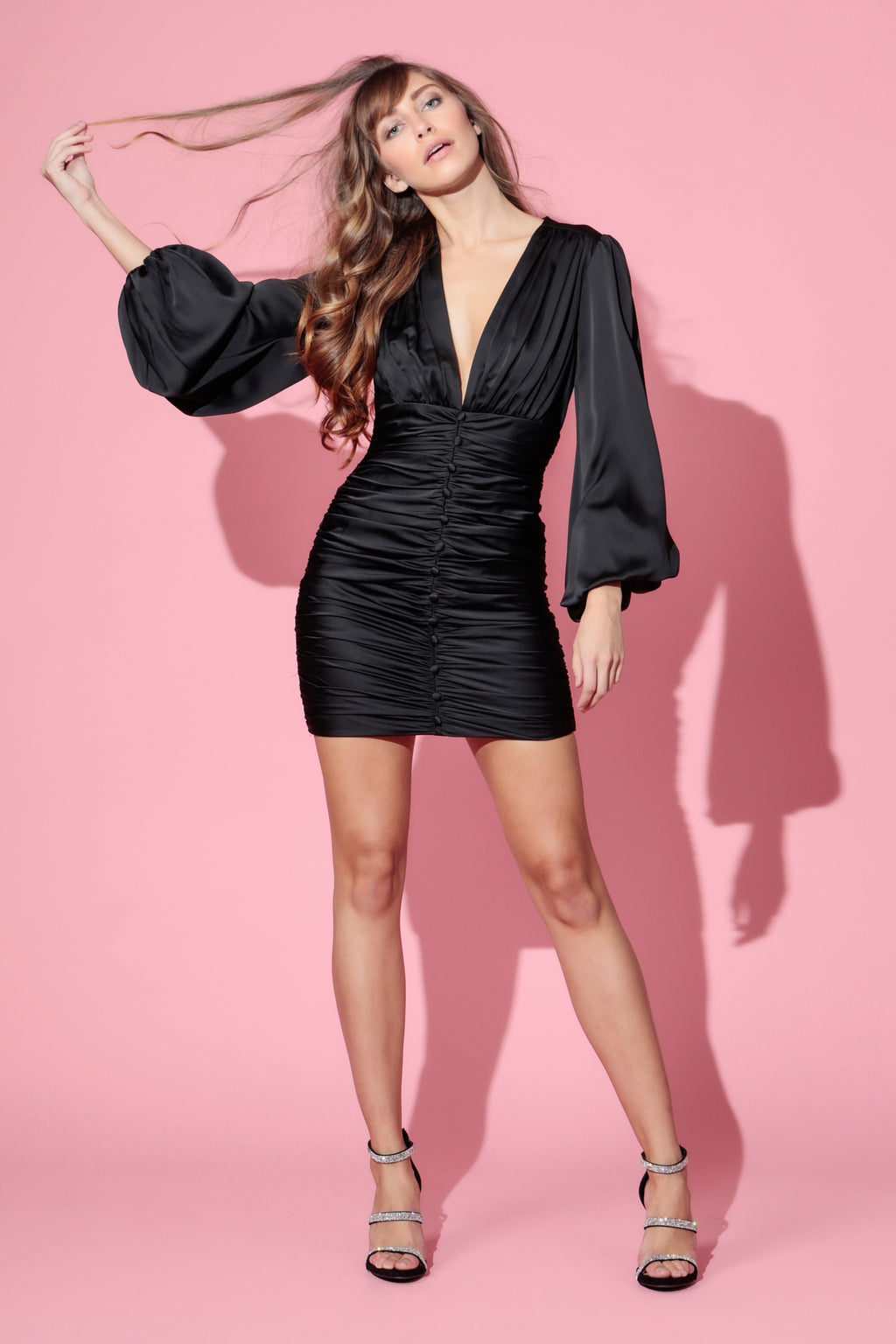 DRAPER SATIN MINI DRESS