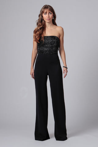 EMMA STRAPLESS BEADED JUMPSUIT