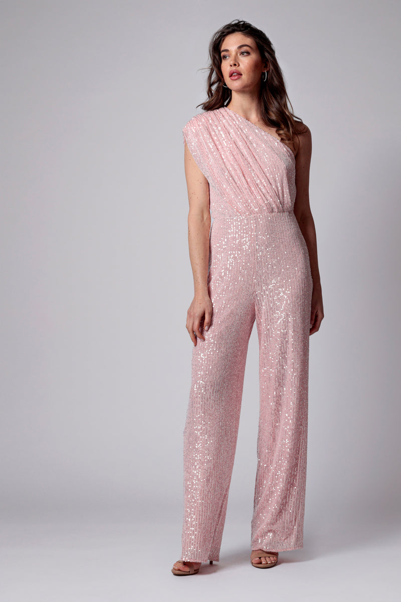 GEORGIA ONE SHOULDER SEQUIN JUMPSUIT
