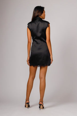GRACIE SLEEVELESS TUXEDO MINI DRESS