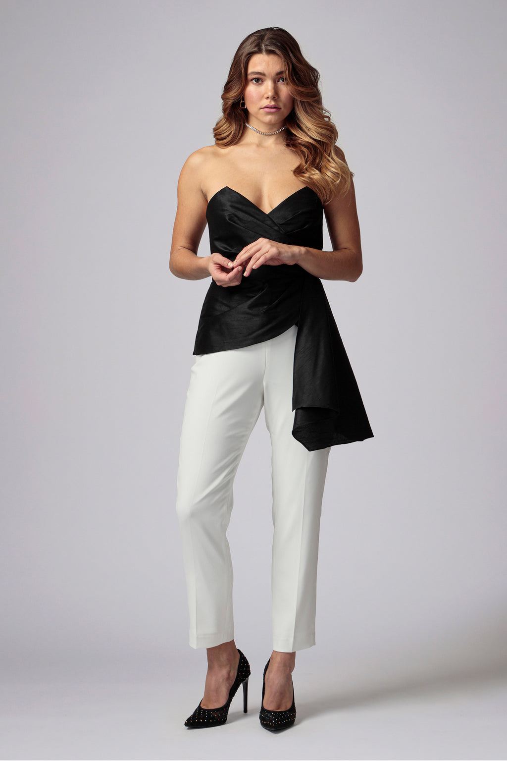 ILARIA STRAPLESS COLOR-BLOCK JUMPSUIT