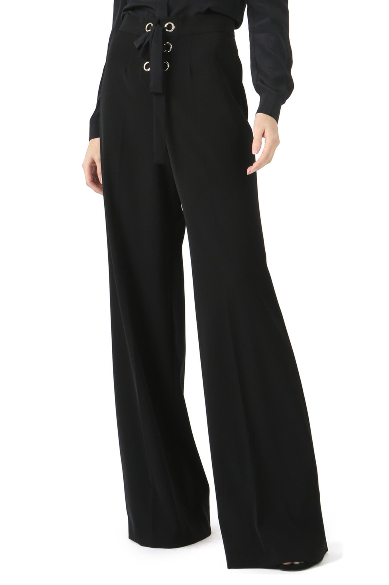 Jay Godfrey Black Lace-Up Wide Leg Pants - Front View
