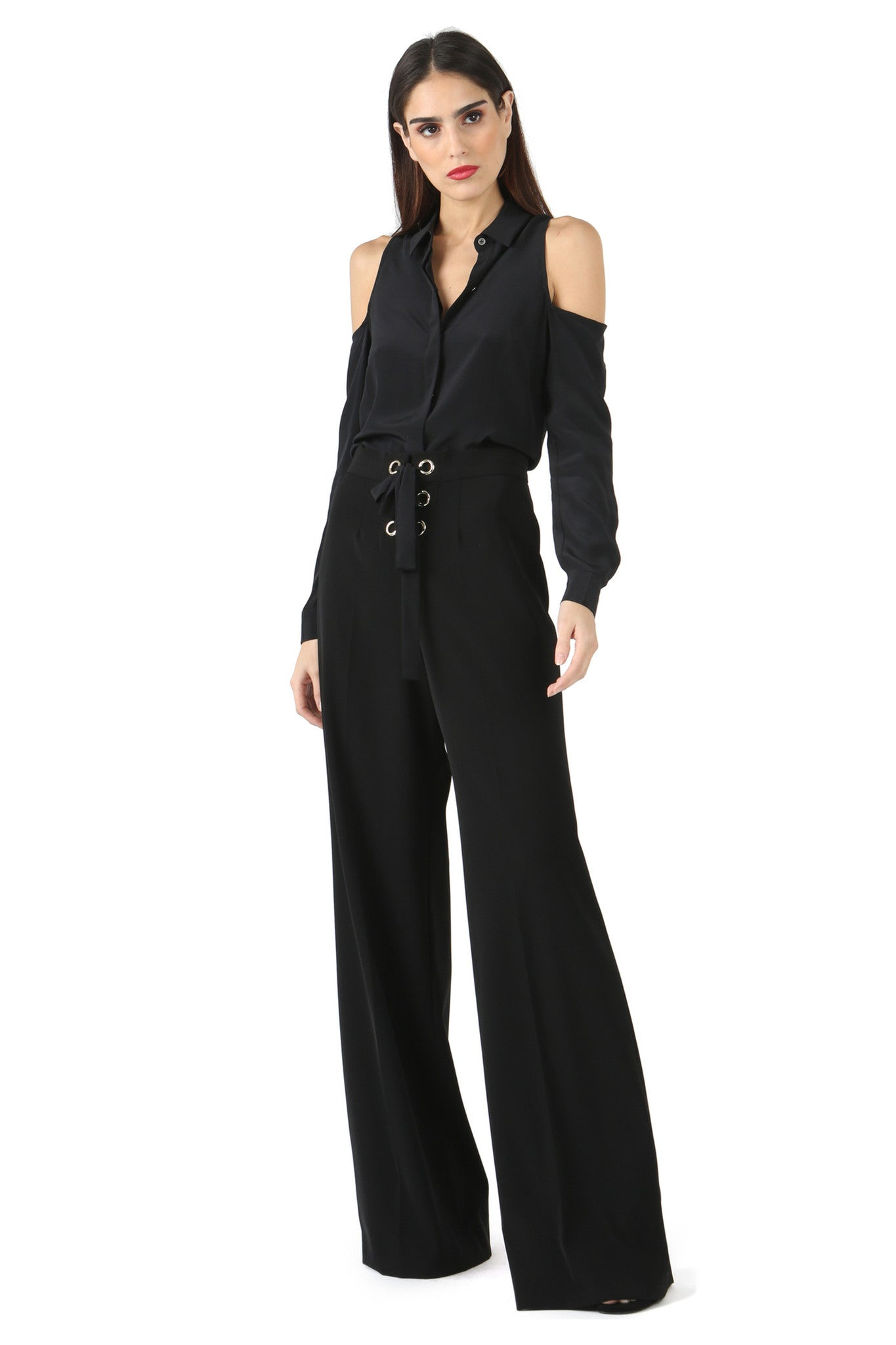 Jay Godfrey Black Lace-Up Wide Leg Pants - Full Front View