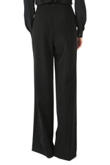 Jay Godfrey Black Lace-Up Wide Leg Pants - Back View