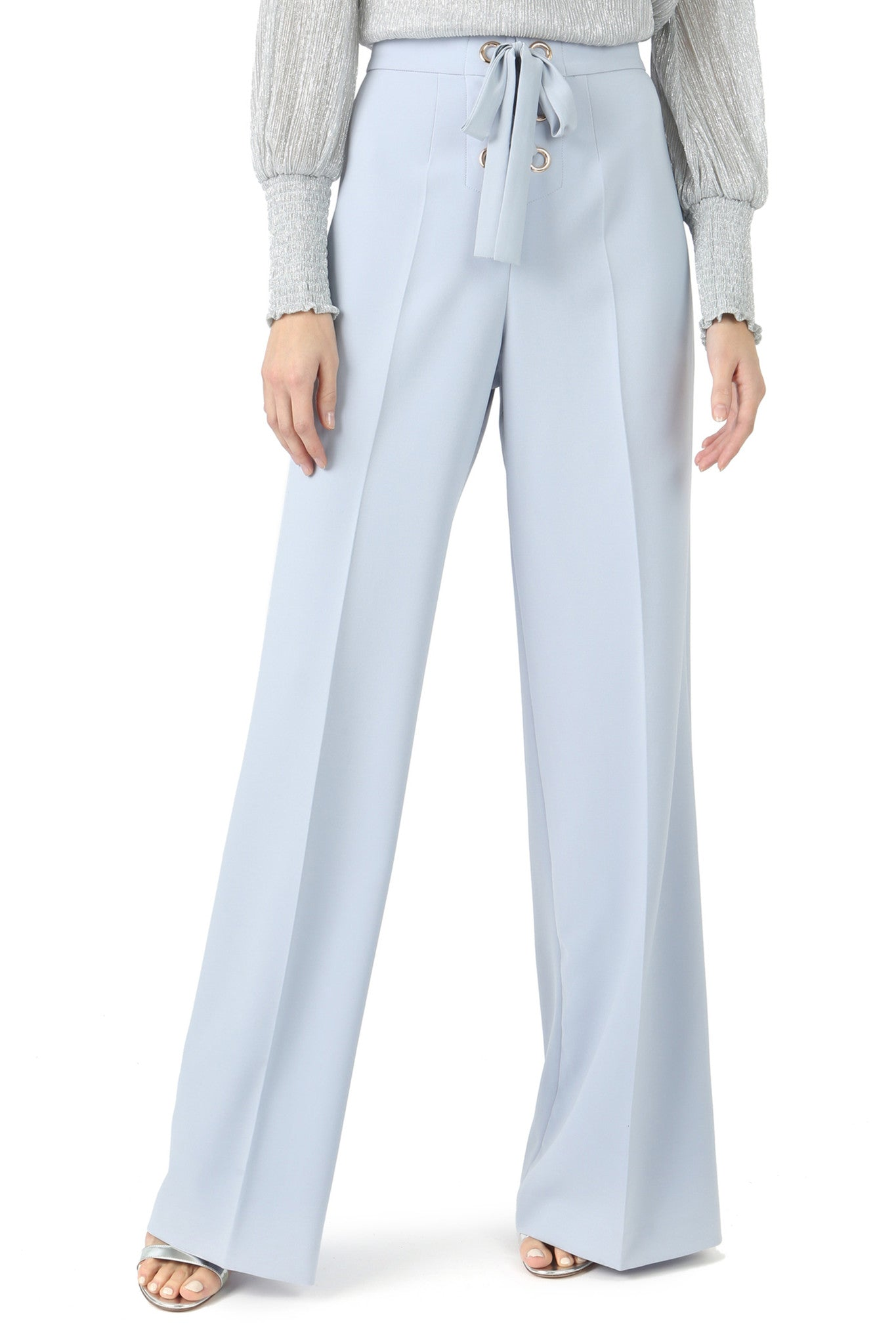 Jay Godfrey Ice Blue Lace-Up Wide Leg Pants - Front View