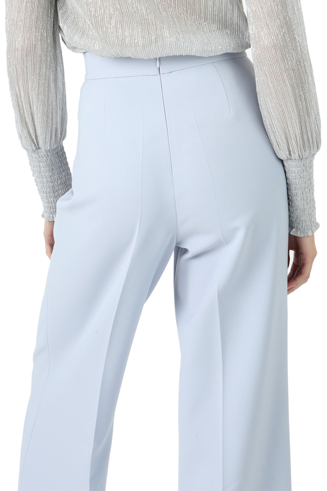 Jay Godfrey Ice Blue Lace-Up Wide Leg Pants - Back View