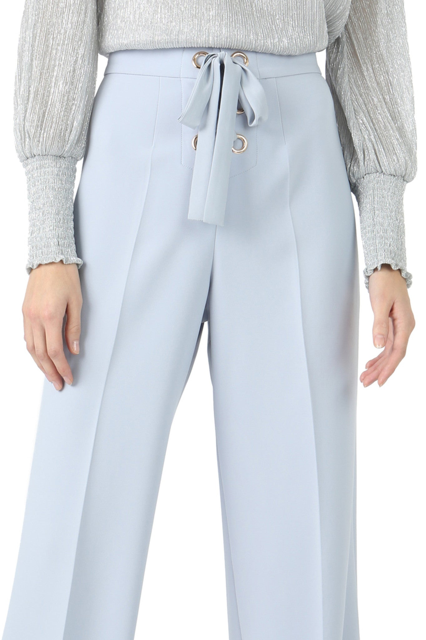 Jay Godfrey Ice Blue Lace-Up Wide Leg Pants - Zoom View