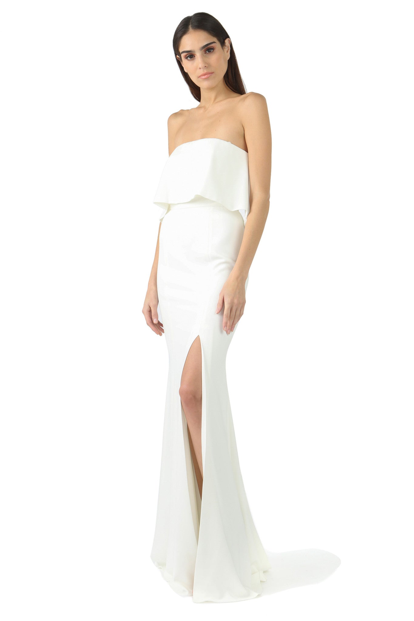 Jay Godfrey Ivory Strapless Tiered Gown - Front View