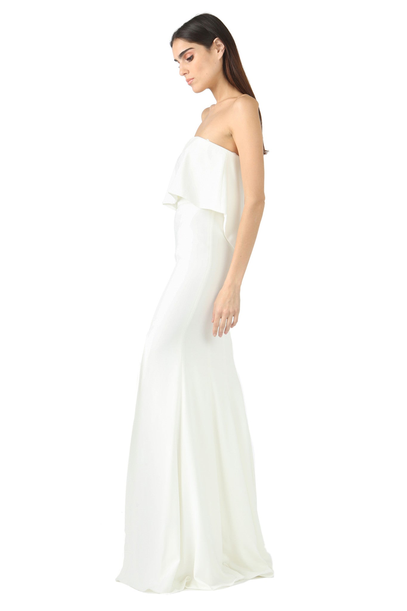 Jay Godfrey Ivory Strapless Tiered Gown - Side View