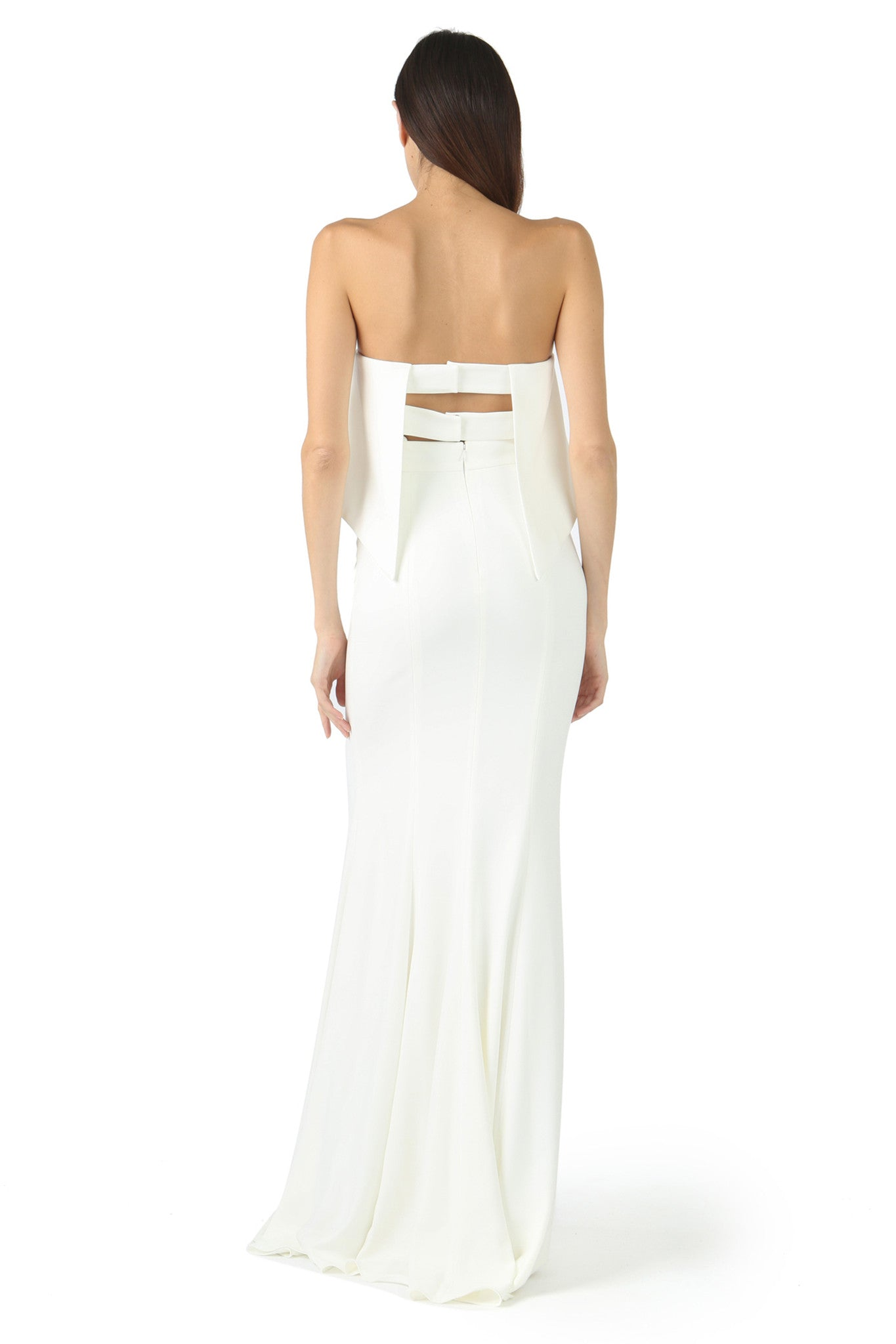 Jay Godfrey Ivory Strapless Tiered Gown - Back View