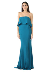 Jay Godfrey Teal Strapless Tiered Gown - Front View