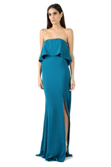 Jay Godfrey Teal Strapless Tiered Gown - Side View