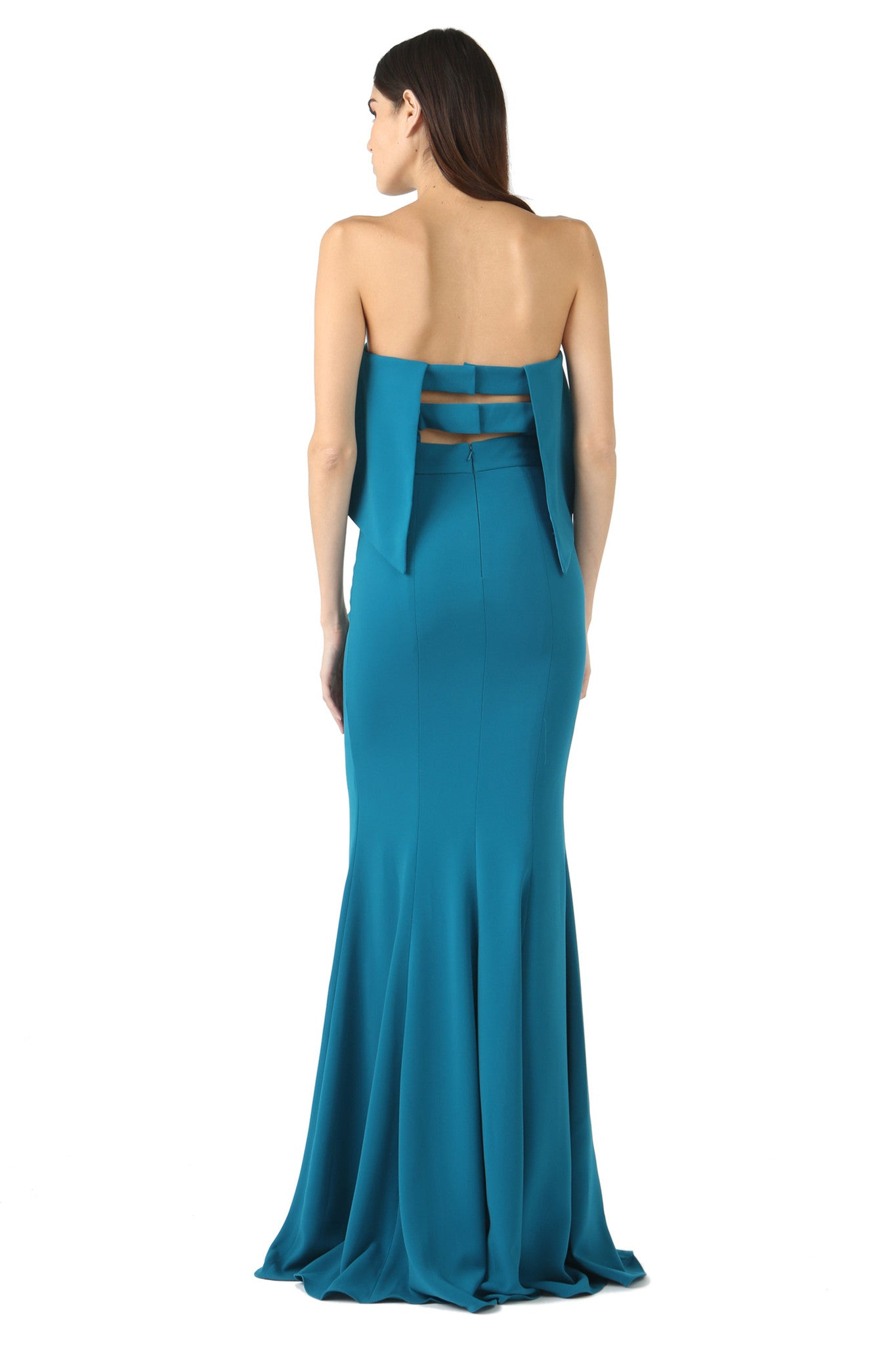 Jay Godfrey Teal Strapless Tiered Gown - Back View