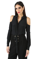 Jay Godfrey Black Cold-Shoulder Blouse - Front View