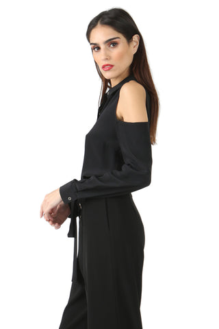 DAVIDSON BLACK COLD SHOULDER BLOUSE
