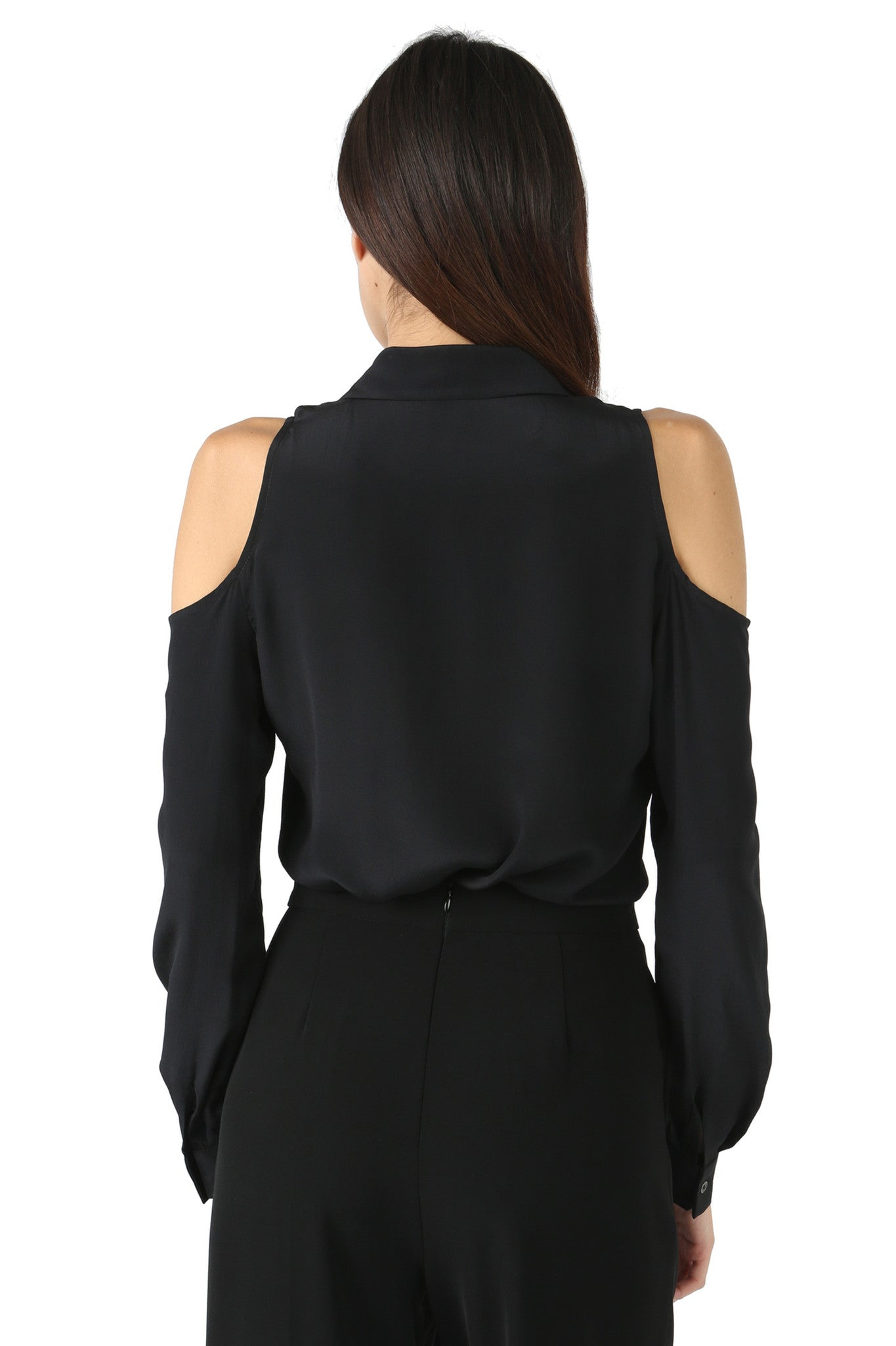 Jay Godfrey Black Cold-Shoulder Blouse - Back View