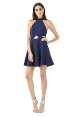 Jay Godfrey Blue Halter Neck Cut-Out Dress - Front View