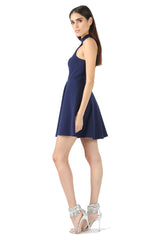 Jay Godfrey Blue Halter Neck Cut-Out Dress - Side View