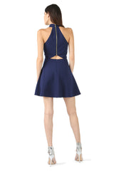 Jay Godfrey Blue Halter Neck Cut-Out Dress - Back View