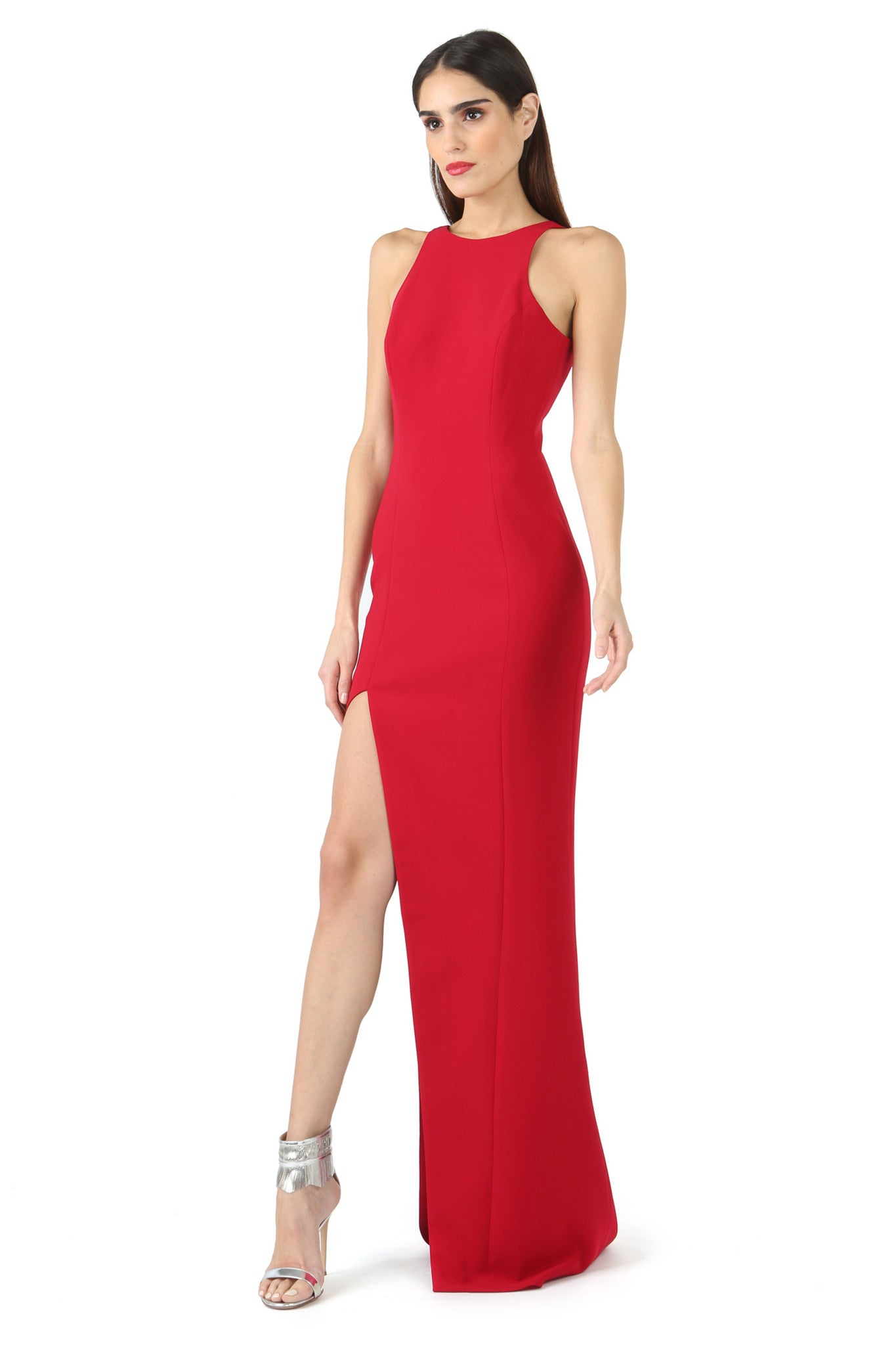Jay Godfrey Red Asymmetrical Slit Gown - Front View
