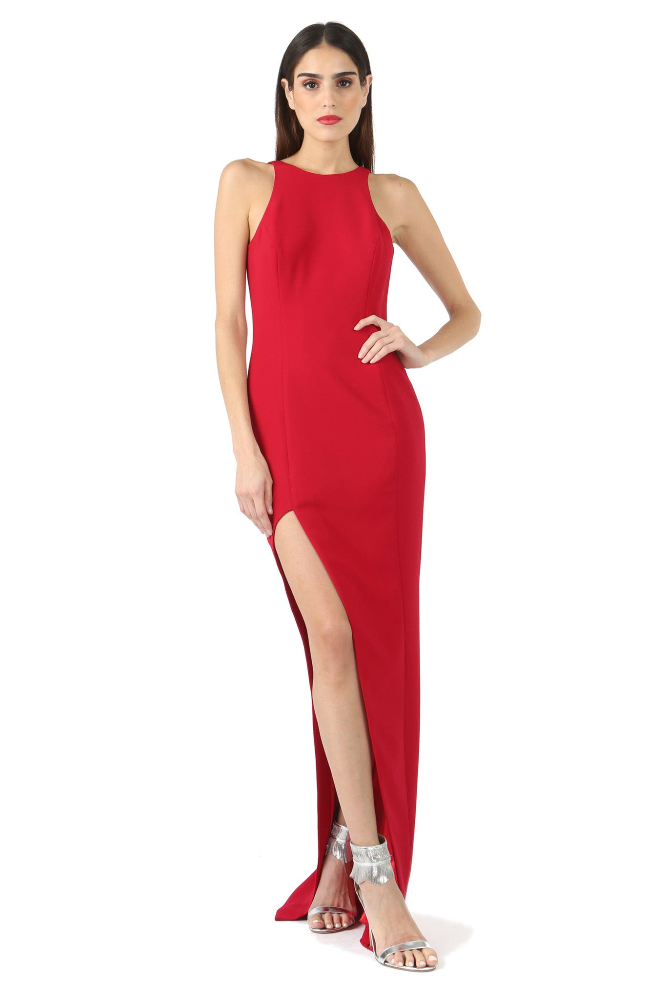 Jay Godfrey Red Asymmetrical Slit Gown - Front View2