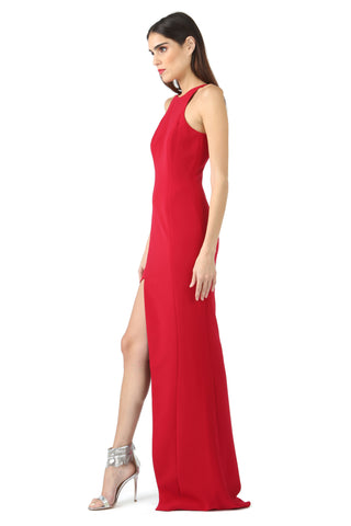 FORD DEEP RED ASYMMETRIC HIGH-SLIT GOWN