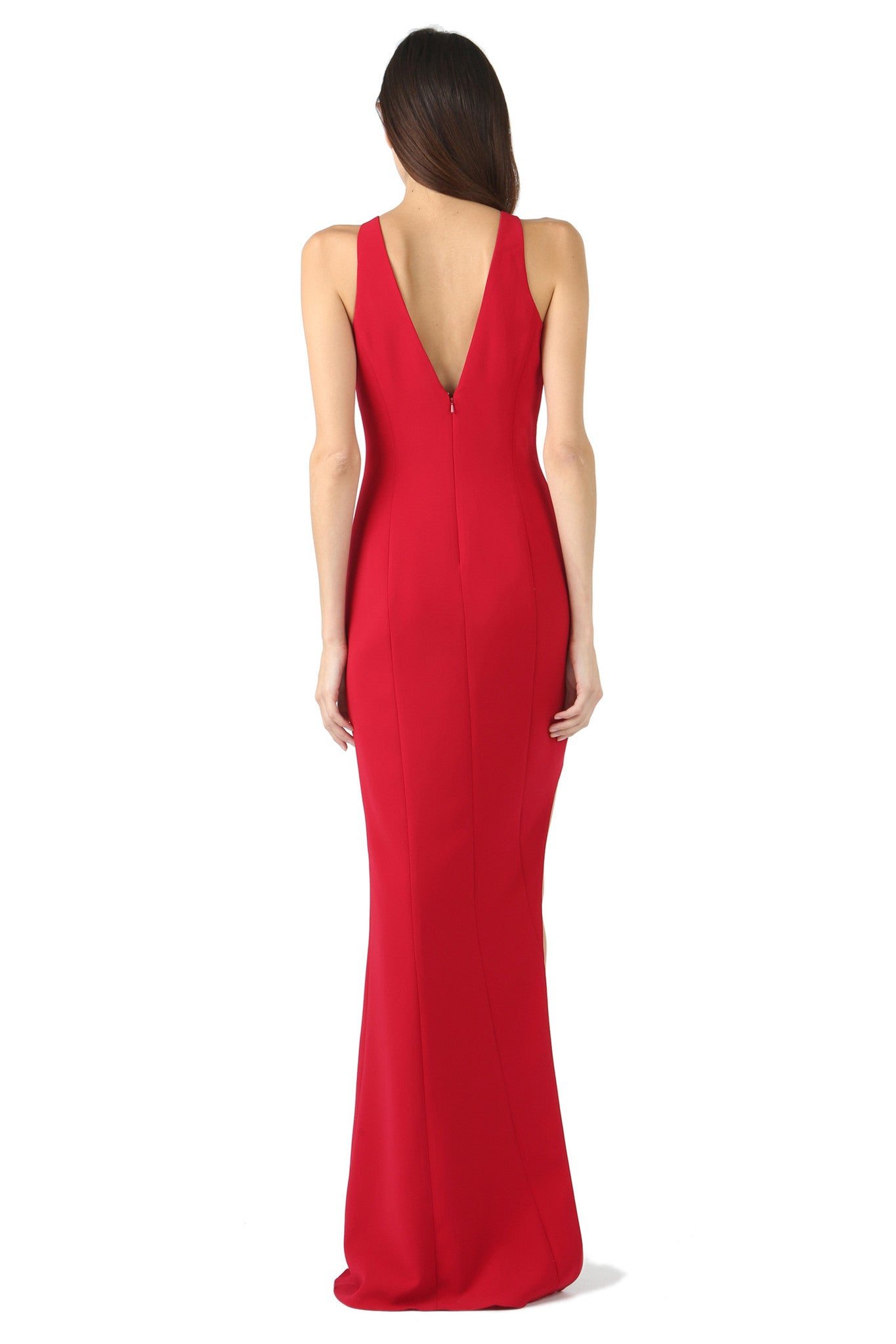 Jay Godfrey Red Asymmetrical Slit Gown - Back View
