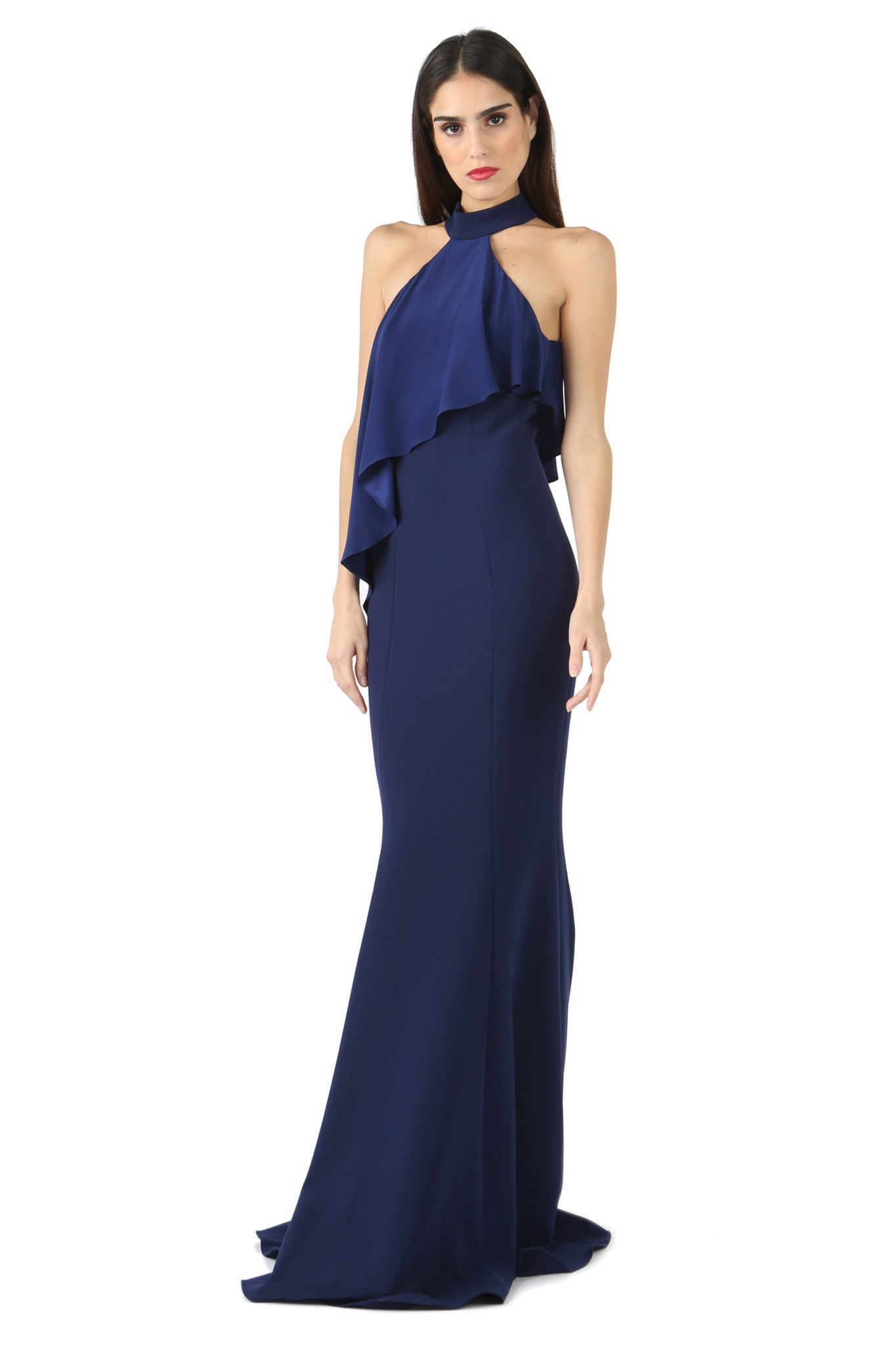 Jay Godfrey Navy High-Neck Overlay Gown - Front View