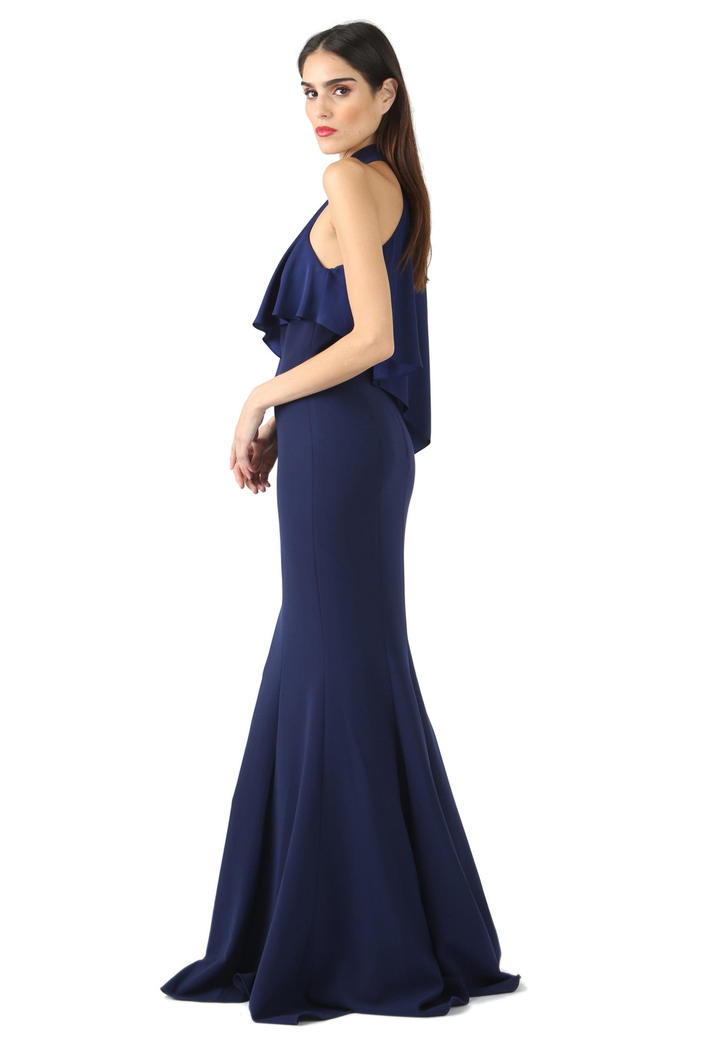 Jay Godfrey Navy High-Neck Overlay Gown - Angle View