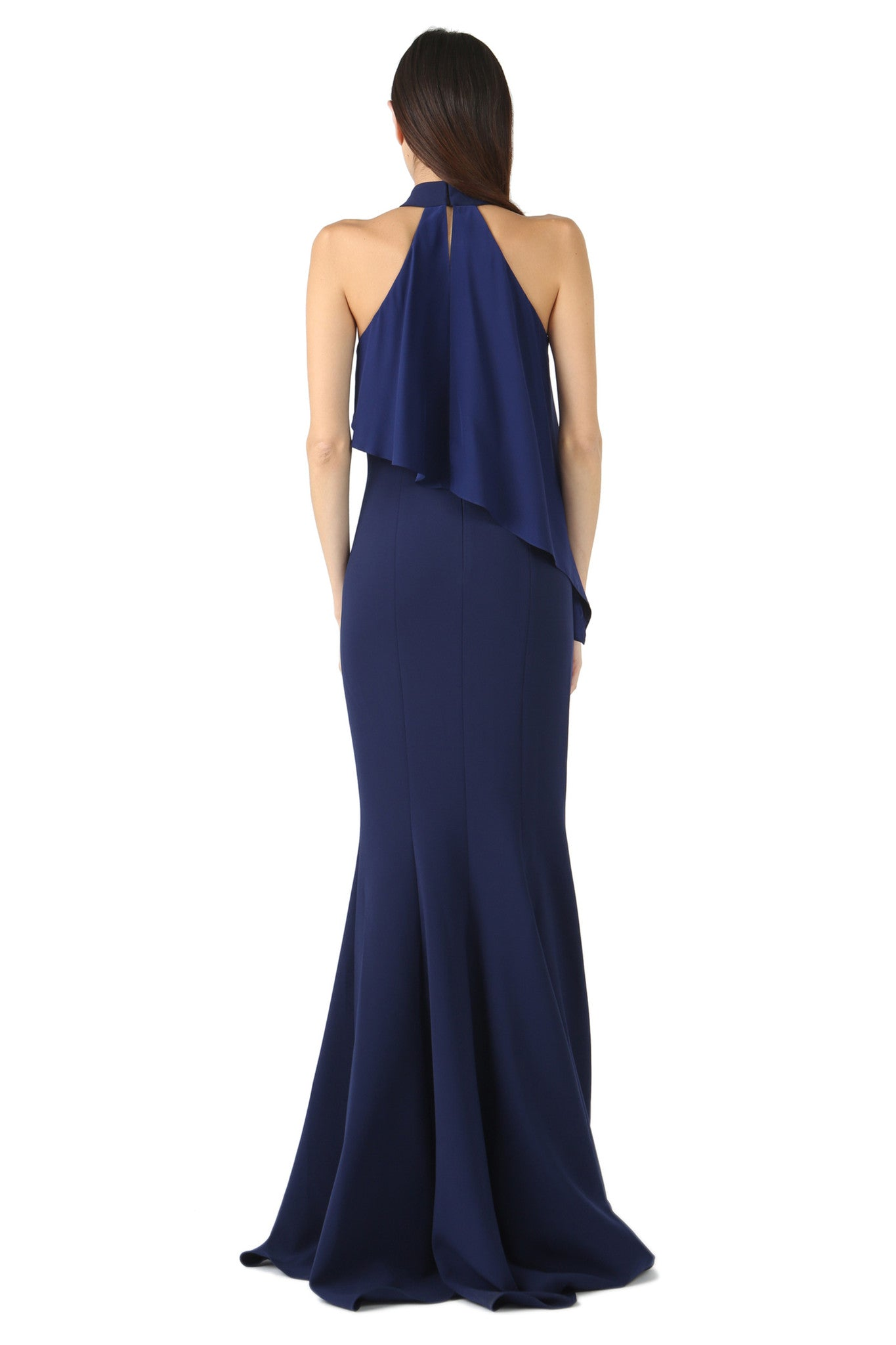 Jay Godfrey Navy High-Neck Overlay Gown - Back View