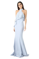 Jay Godfrey Ice Blue High-Neck Overlay Gown - Front View