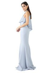 Jay Godfrey Navy High-Neck Overlay Gown - Side View