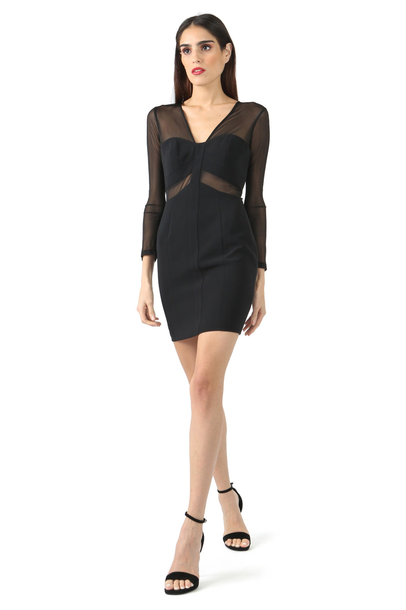 Jay Godfrey Black Long Sleeve Lace Dress - Front View