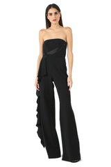 Jay Godfrey Black Strapless Romper - Front View