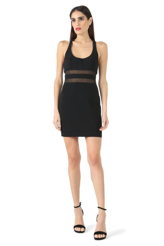 PEROT BLACK SCOOP NECK MINI DRESS
