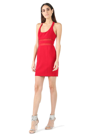 PEROT RED SCOOP NECK MINI DRESS