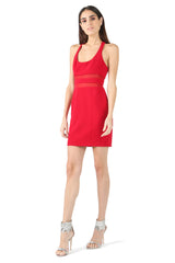 Jay Godfrey Red Scoop Neck Mini Dress - Front View