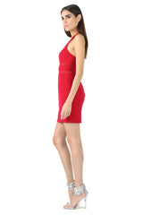 Jay Godfrey Red Scoop Neck Mini Dress - Side View