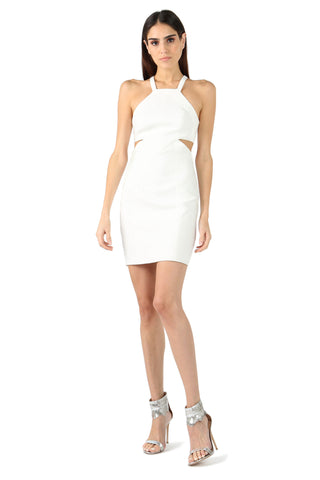 ROBBINS IVORY CUT-OUT MINI DRESS