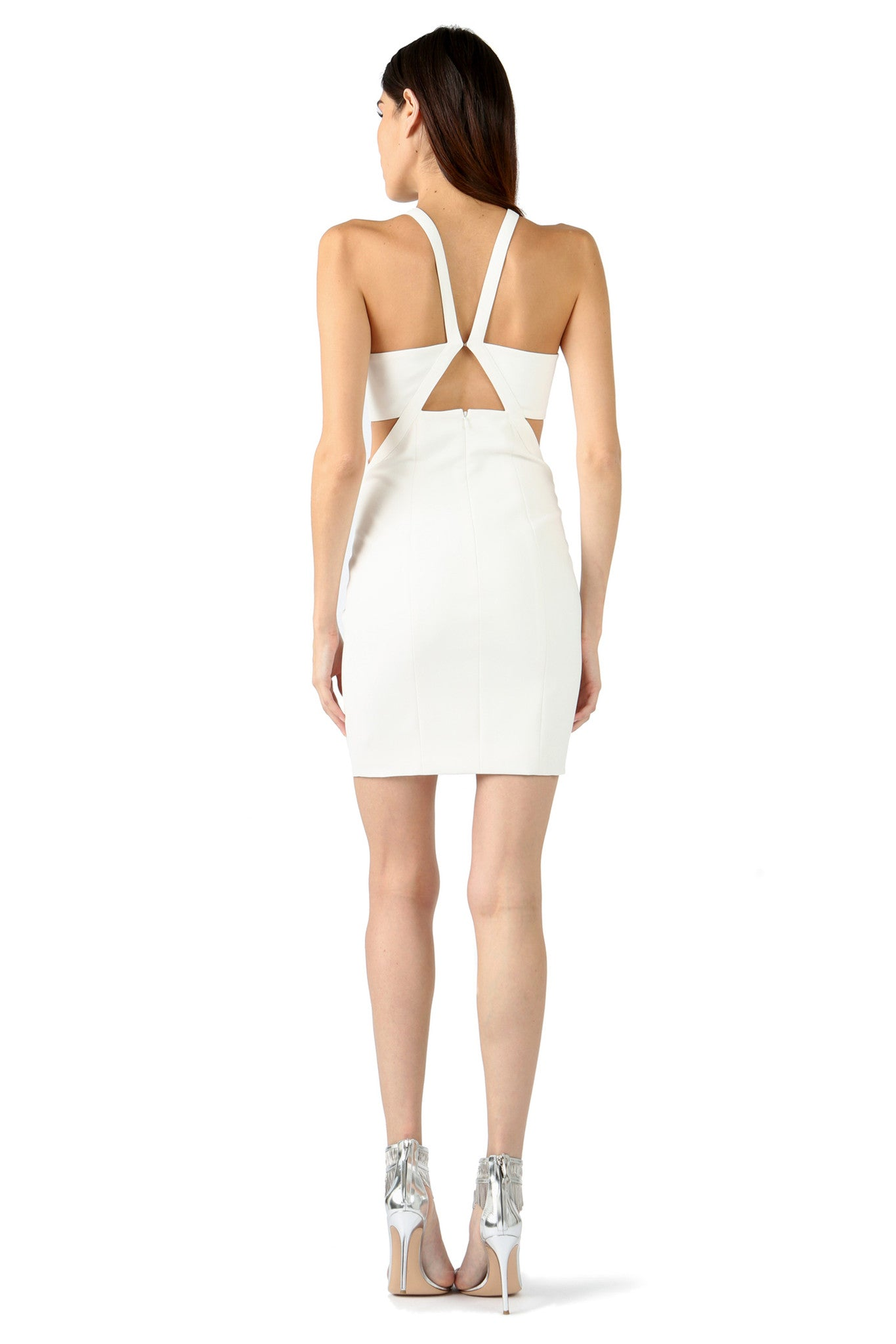 Jay Godfrey Ivory Cut-Out Mini Dress - Back View