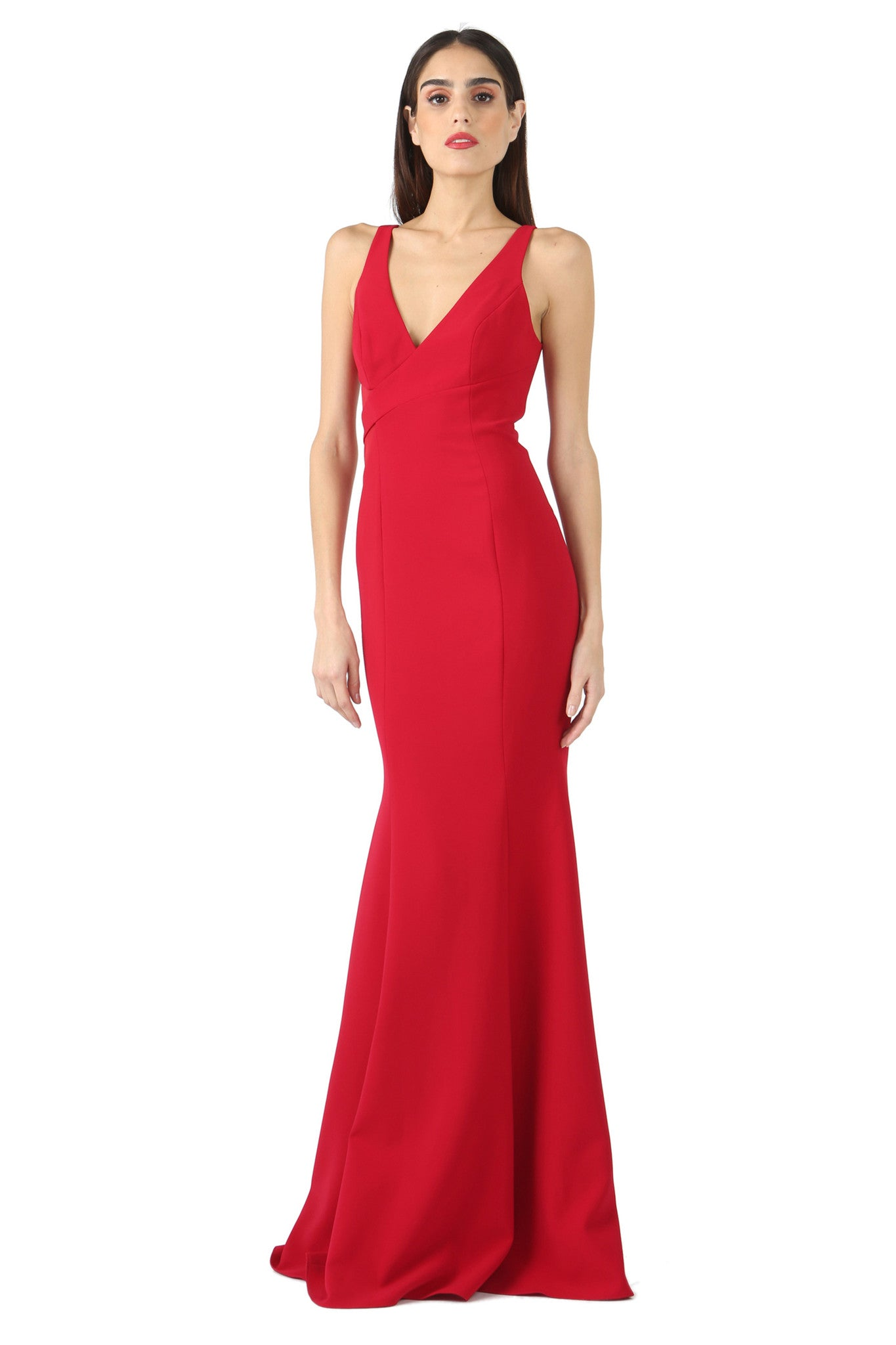 Jay Godfrey Red Sheer Panel V-Neck Gown - Front View