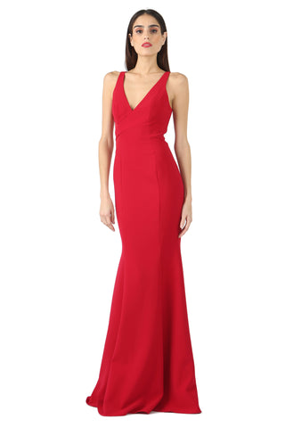 ROCKEFELLER RED V-NECK PANEL GOWN