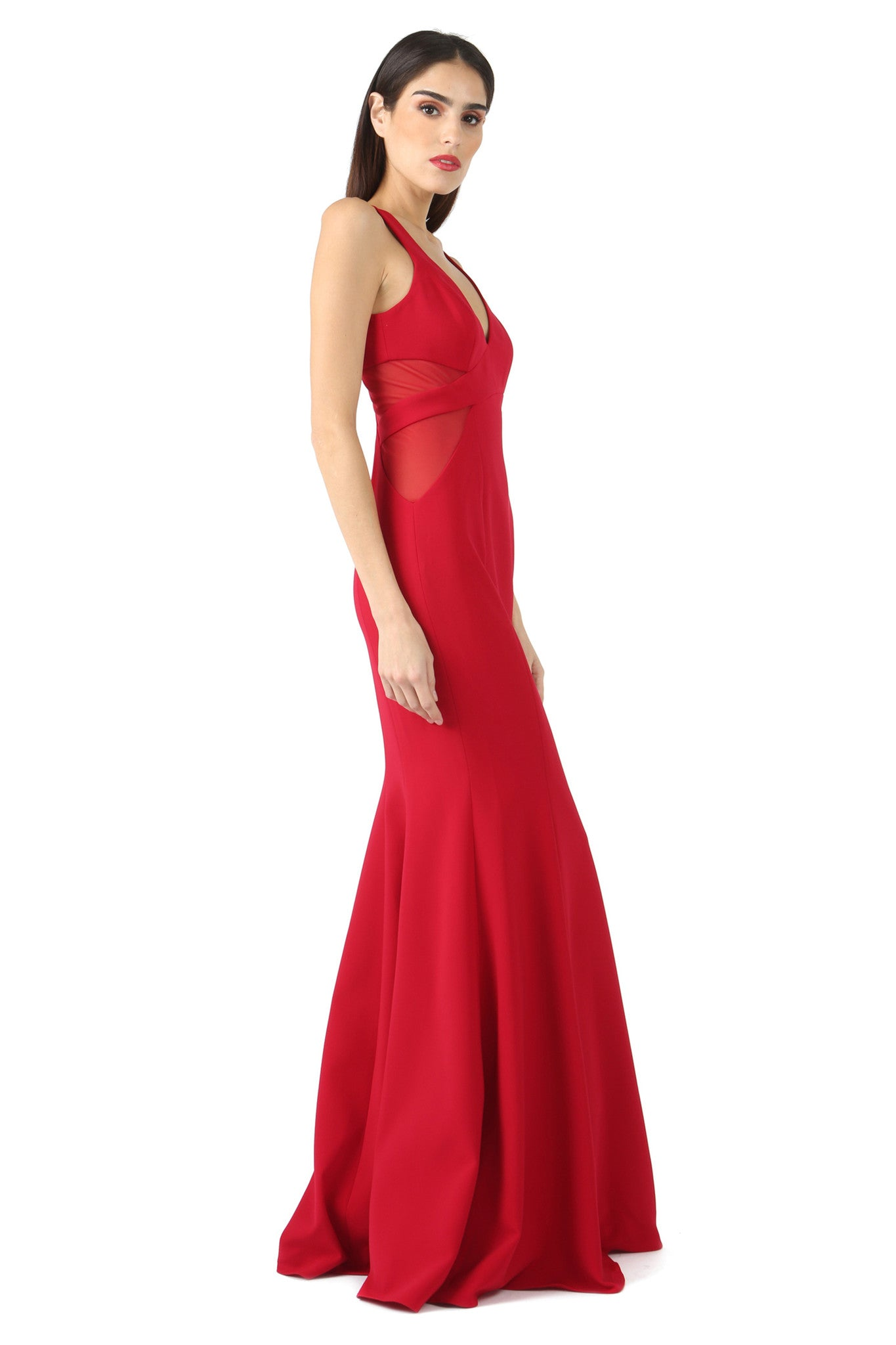 Jay Godfrey Red Sheer Panel V-Neck Gown - Side View
